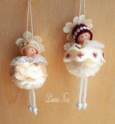 Diy Christmas Angel Ornaments, Christmas Ornament Template, Crochet Christmas Decorations, Christmas Angels, Christmas Crafts, Diy Arts And Crafts, Crafts For Kids, Rabbit Crafts, Fairy Dolls