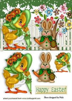LITTLE CHICK WITH EASTER BUNNY on Craftsuprint - Add To Basket!
