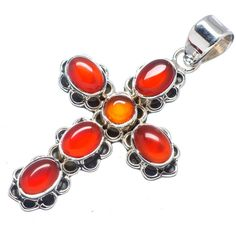 "Red Onyx Cross 925 Sterling Silver Pendant 1 3/4"" PD543011"
