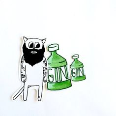 ▶ About Brad the babe and gin stickers Brad the babe is a tattooed heart growing hunk of a cat that comes with one large and one small gin bottle sticker. Both Brad and the gin are original drawing and watercolour paintings. The artwork has been printed on to paper stickers and hand cut by me. ▶ Info Colours may differ slightly from the images shown. ▶ Offers & Social For behind the scenes, new products, special offers, and other fun things can be found at on my Instagram @outlawsandskele... Gifts For Gin Lovers, Gin Bottles, Watercolour Paintings, Cat Stickers, Image Shows, Sticker Paper, Fun Things, Babe, Colours