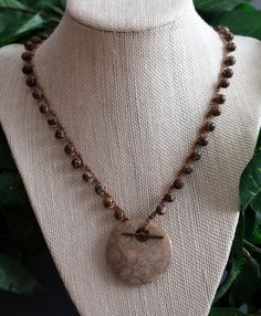 Handmade Crocheted Pendant Necklace Fossil Agate by PJsPrettys