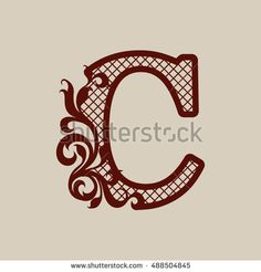 Carved openwork floral pattern initial letters C. Template can be used for interior design, laser cutting or printing greeting and wedding cards, invitations, etc.