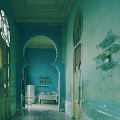 mint green interior design, high ceilings, arc