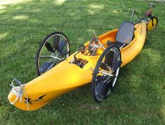 The Recumbent Bicycle and Human Powered Vehicle Information Center - Trend Pin Kayaks, Pedal Powered Kayak, Pedal Boat, Canoa Kayak, Bicycle Crafts, Bicycle Decor, Velo Cargo, Kayak Trailer, Recumbent Bicycle