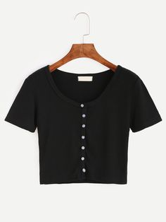 Black Button Front Crop T-shirt Mobile Site Girls Crop Tops, Cute Crop Tops, Crop Top Shirts, Crop Shirt, Cute Shirts, Striped T Shirts, Black Shirts, Teen Fashion Outfits, Outfits For Teens