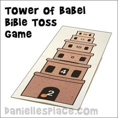 "Tower of Babel Toss Bible Lesson Review Game from ""More Wise and Foolish Builders from www.daniellesplace.com"