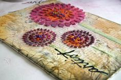 Panpastel artist canvas by Donna @ Simply me blog. Her use of the Pan Pastels on this canvas is inspiring, love the pinks and purples!