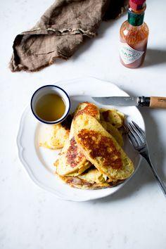 cheesy mozzarella french toast with honey.