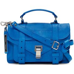 Proenza Schouler Blue PS1 Tiny Satchel ($1,025) ❤ liked on Polyvore featuring bags, handbags, blue leather purse, leather satchel purse, leather satchel handbags, leather satchel and satchel handbags