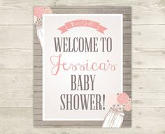 Girl Baby Shower  Custom Welcome Sign  by CelebrateBabyCo on Etsy