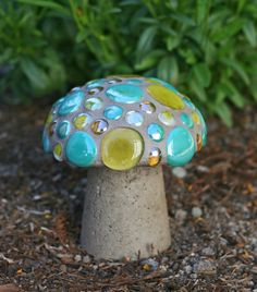 Too very cute!!    Mosaic Mushroom 7 Teal and Yellow by MosaicsByLoriB on Etsy, $45.00