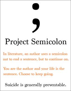 Every year people attempt suicide. Do you know why the symbol used by Project Semicolon represents hope for dealing with suicide and mental illness? Gesundheits Tattoo, Semicolon Tattoo, Health Tattoo, Semicolon Project, Awareness Tattoo, Mental Illness Awareness, Causes Of Depression, Dark Quotes, Negative Thinking