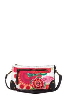 Desigual women's Dorothea Floreada bag. Two separate inner compartments with zip fastening. Long, detachable strap.