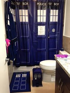 This would be the Ultimate Whovian bathroom if only Jack Harkness was behind the curtain!