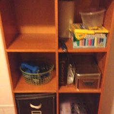 Narrow ikea cube bookshelf, with back.