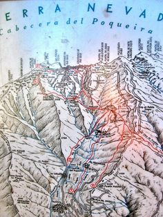 Map of ascent to summit of Mt. Mulhacen - Sierra Nevada, Spain
