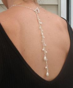 Back Drop Necklace with Pearls and by DeniseJewelryDesigns on Etsy