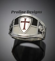 Knights Templar Masonic ring in Sterling Silver #prolinedesigns