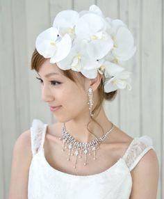 ヘッドドレス(髪飾り)【シルクフラワー】胡蝶蘭 20輪セット