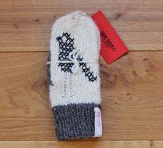 Hand Knit Wool Mittens White and Grey Hand Knit Gloves Soft Women Accessories with Cross Stitch Design Black Bird