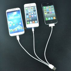3in1 USB to Micro/30 Pin Charger Cable Charging for iPhone 5 5S 4S Samsung HTC