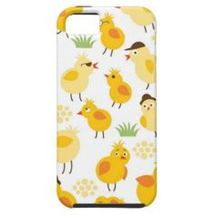 Little yellow chickens pattern iPhone 5 cover #pattern #iphonecases #iphonecase #blue #chickens #chicken