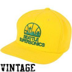 Mitchell   Ness Seattle SuperSonics Hardwood Classics Basic Vintage Logo Snapback  Hat - Gold c724ebd3a