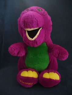"BARNEY THE DINOSAUR Plush Dakin Stuffed Toy 13"" dated 1992.....my oldest son was a loyal fan of this show and carried ""Barney"" with him everywhere lol"