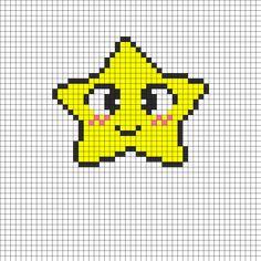 Happy Star Perler Bead Pattern | Bead Sprites | Characters Fuse Bead Patterns
