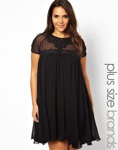 Image 1 of Lipstick Boutique Swing Dress with Lace Yoke