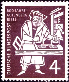 Gutenberg commemorative stamp from Germany. The inventor of the printing press, he helped spread the good news of the Reformation throughout central Europe