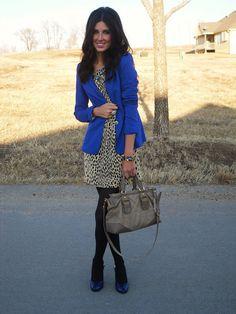 Leopard Dress + Blue Blazer + Black Tights