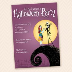 Nightmare Before Christmas Themed Halloween Party Invitation. $12.00, via Etsy.
