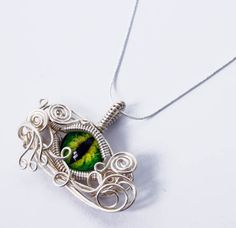 Glass Eye Pendant - Wire Wrap Green Dragon Taxidermy Glass Eyeball with 22 inch Sterling Silver Snake Chain $65.00