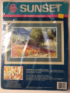 Vintage Sunset Cross Stitch  Down a Country by KoopsKountryKalico, $7.99