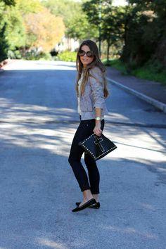 Street style fashion: tweed blazer jacket, studded black loafers ballet flats, black jeans, black studded leather clutch bag