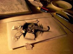 Fredo's amazing art Wladimir Inostroza from Chile, known as FredoART on DeviantArt, uses clever optical illusions to make his drawings appear 3d Pencil Art, 3d Pencil Drawings, Graphite Drawings, Amazing Drawings, Cool Drawings, Amazing Artwork, 3d Artwork, 3d Paper Art, Paper Drawing