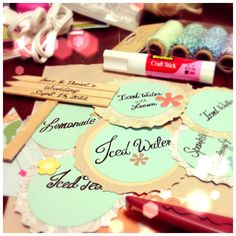DIY Food Place Cards for Wedding Reception! :)