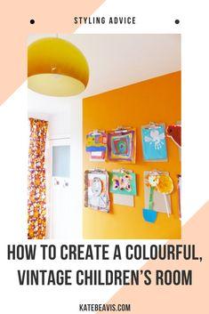A colourful, vintage children's room - Kate Beavis Vintage Expert Vintage Room, Vintage Tins, Teenage Room, Vintage Colors, Vintage Children, Boy Room, Room Inspiration, Playrooms, Kidsroom