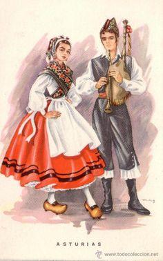 POSTAL TRAJES TIPICOS ASTURIAS AÑOS 60 ENVIO GRATIS (Postales - España - Asturias Moderna (desde 1.940))