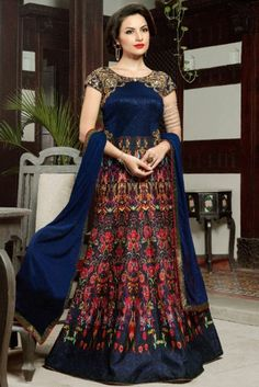 Navy Blue Silk Wedding Anarkali Suit With Zari Work. Costumes Anarkali, Anarkali Suits, Salwar Kameez, Women's Fashion Dresses, Casual Dresses, Angrakha Style, Indian Party Wear, Party Tops, Party Wear Dresses
