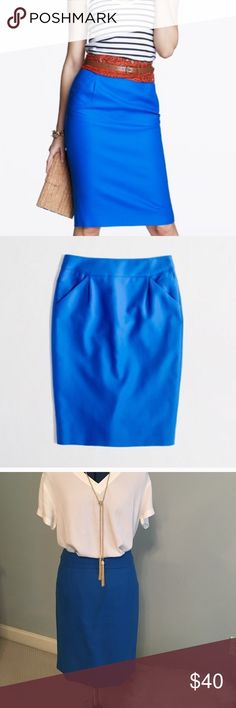 J.Crew pencil skirt Cotton royal blue pencil skirt with front pockets. Back slit in middle. Back zip. J. Crew Skirts Pencil