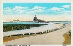 Charleston South Carolina SC 1929 Cooper River Bridge Antique Vintage Postcard Charleston South Carolina SC 1929 Cooper River Bridge, fifth largest Cantilever bridge in the world and almost three mile