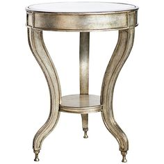 Universal Lighting and Decor Beverly Champagne and Mirror Accent Table ($200) ❤ liked on Polyvore featuring home, furniture, tables, accent tables, home decor, interior, brown, shelving furniture, mirrored shelves and brown furniture