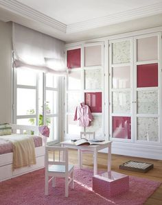 Girls' Bedroom with Built-In Storage - #bigkidroom