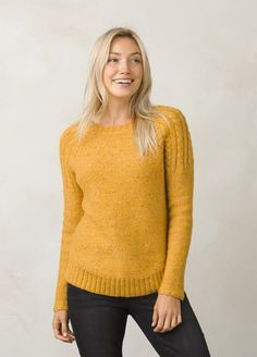 The Pia Sweater is made from a mid-weight marled knit with colorful  confetti fibers throughout. Relaxed fit crew neck style with cable kit  raglan sleeves. e4931033c