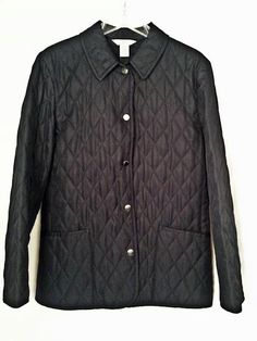 Womens Brooks Brothers 346 Navy Blue Quilted Jacket  Size 12 EUC #BrooksBrothers #BasicJacket