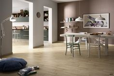 Contemporary room with porcelain wood look tile!