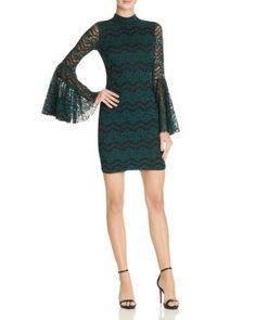 AQUA Two-Tone Lace Bell-Sleeve Dress | Bloomingdale's