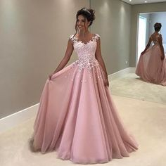 Prom Dress Princess, Pink chiffon lace prom dress, pink evening dress, formal dress Shop ball gown prom dresses and gowns and become a princess on prom night. prom ball gowns in every size, from juniors to plus size. Prom Dresses Long Pink, Princess Prom Dresses, Straps Prom Dresses, Prom Dresses 2017, A Line Prom Dresses, Tulle Prom Dress, Formal Dresses For Women, Ball Gown Dresses, Cheap Prom Dresses